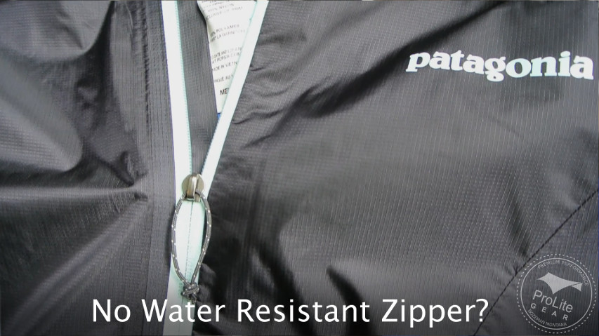 Patagonia Alpine Houdini does not use a water resistant zipper