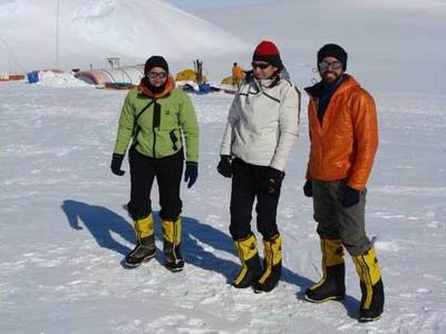 Pachi, Jarmila and Camilo at Mt. Vinson Base Camp