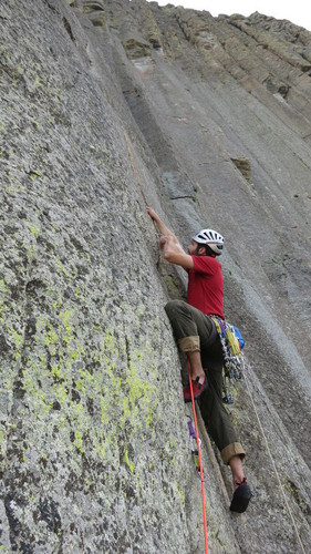"""Taylor Lace climbing """"Bell Fouch Buttress""""."""