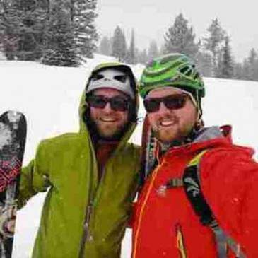 Nick and Brad skiing at Bridger Bowl
