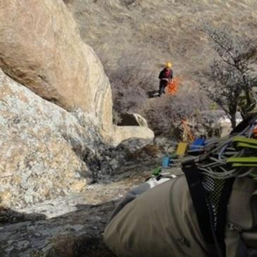 ProLite Gear employees Brad and Nick climbing Neat Rock