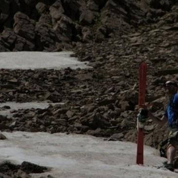 ProLite Gear employee, Nick, skiing on Sacajawea peak in the Bridger Mountains.