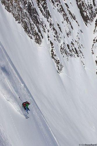 ProLite Gear employee, Nina, skiing in Alaska.